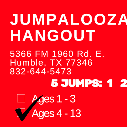 5 JUMP PASS - Ages 4-13