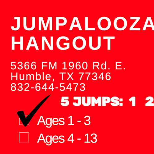 5 JUMP PASS - Ages 1-3