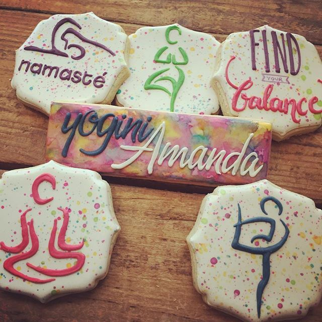 My first yoga cookies _) Congrats to Amanda who passed her certification to become a yogini..