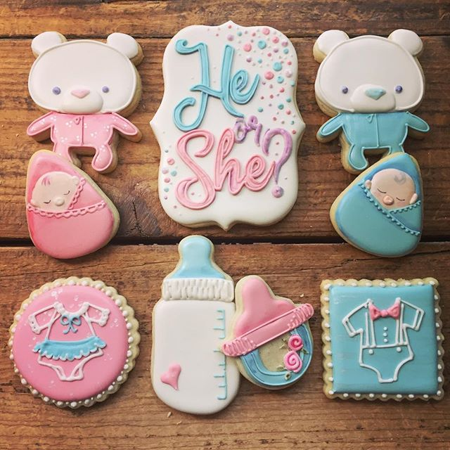 Gender reveals are quickly becoming some of my favorite cookies to make, pink AND blue! The best of