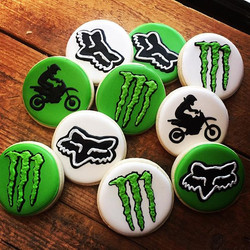 Motocross cookies for a birthday party today... I think I found a new favorite green color