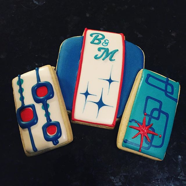 Fun mid century modern theme cookies for wedding guest welcome bags