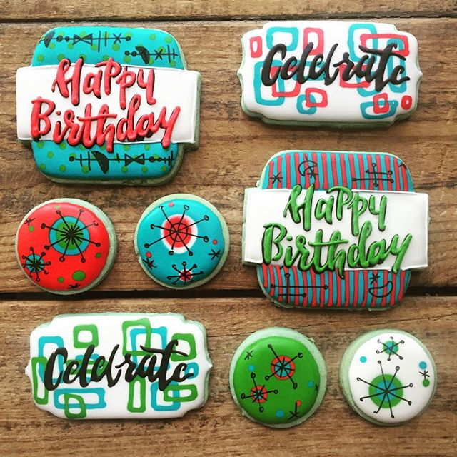 Here's some mid-century modern inspired birthday cookies for ya 😉