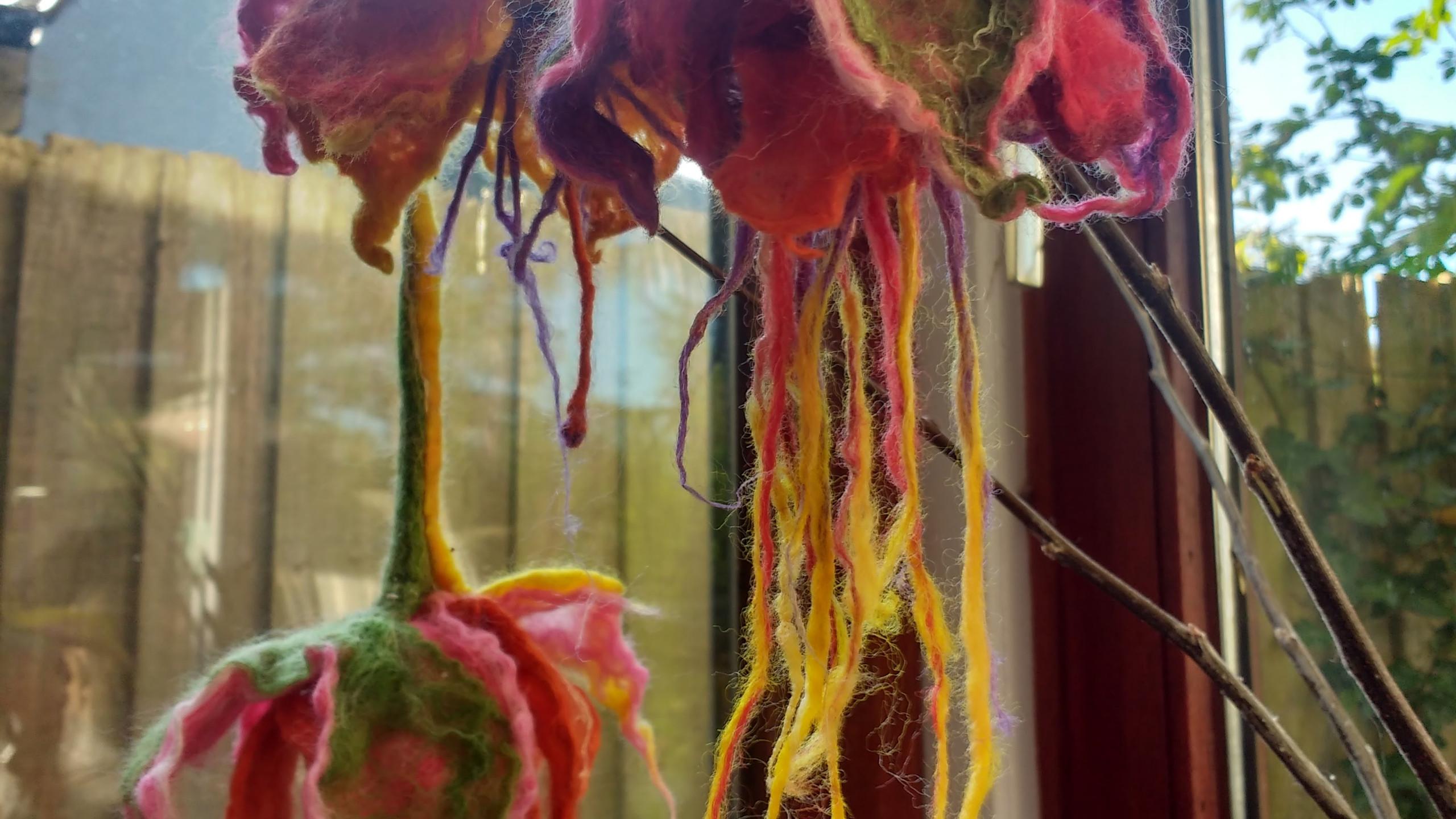 Felt Fuchsias, merino and silk