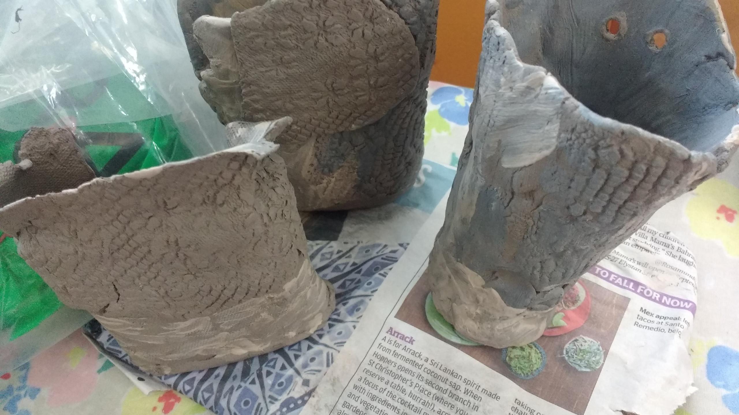 Clay, slab built with slip