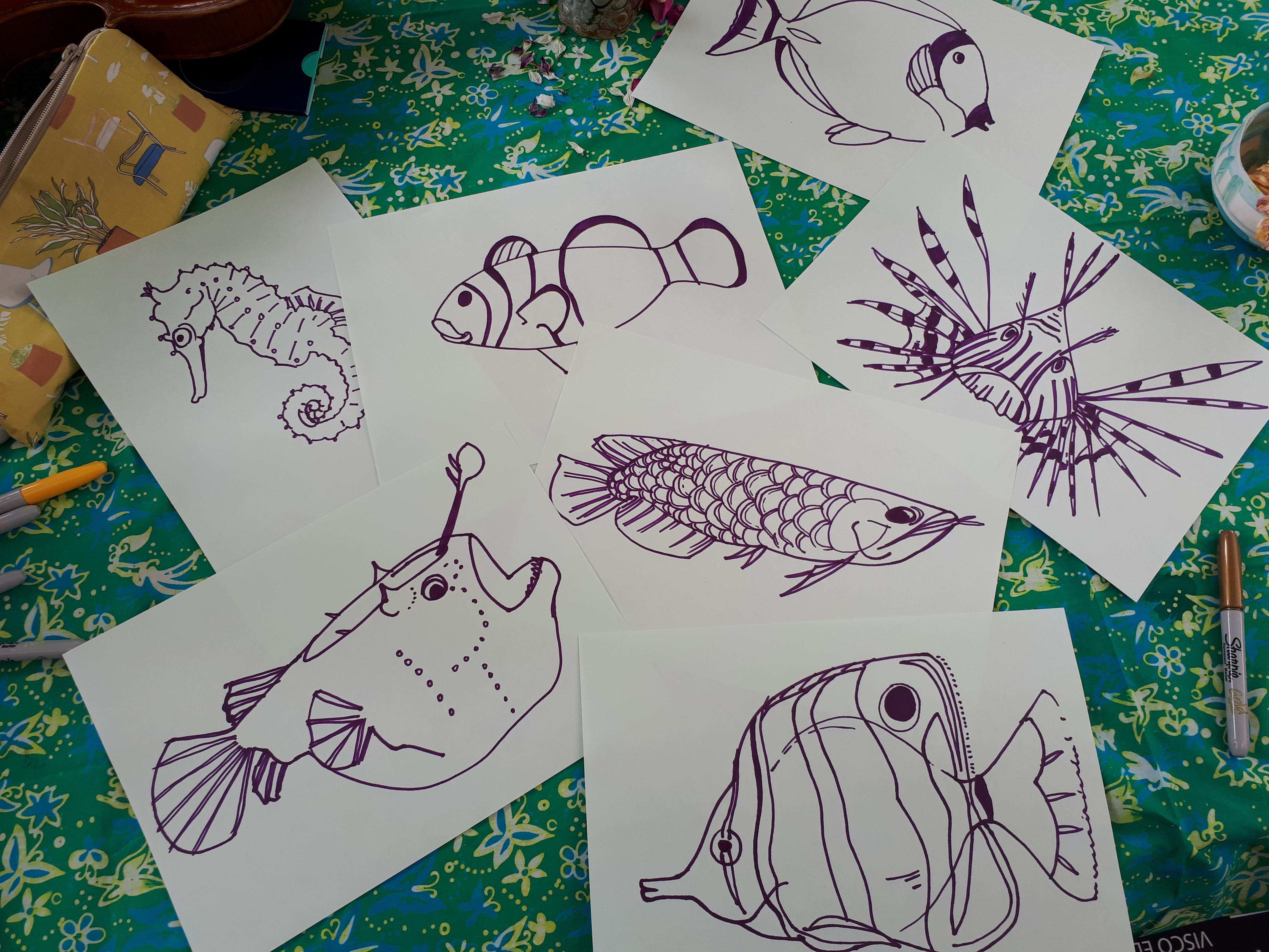 Completed fish drawings