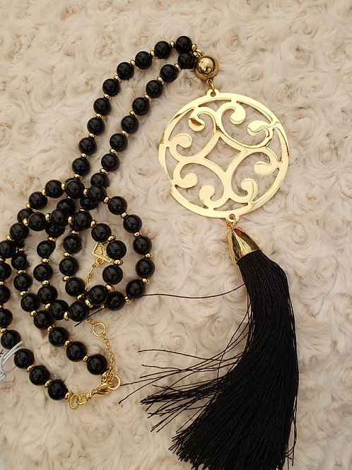 Romantic Black and Gold Necklace