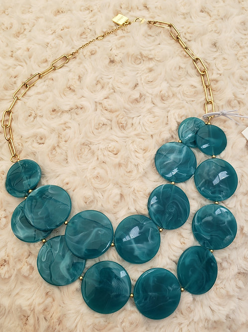 Teal Discs Necklace