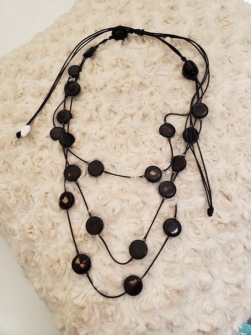 Multistrand Black Disc Necklace