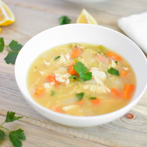 Lemon Chicken Orzo Soup for 2 people ($7.5/pers)