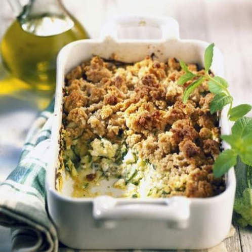 Zucchini and Ricotta Crumble ($14.50/pers; min 2 servings)