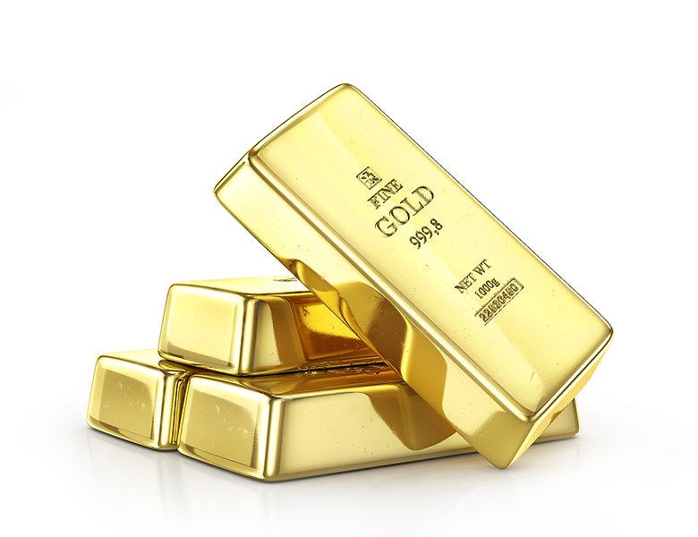 Gold ingot isolated on a white. 3d illus