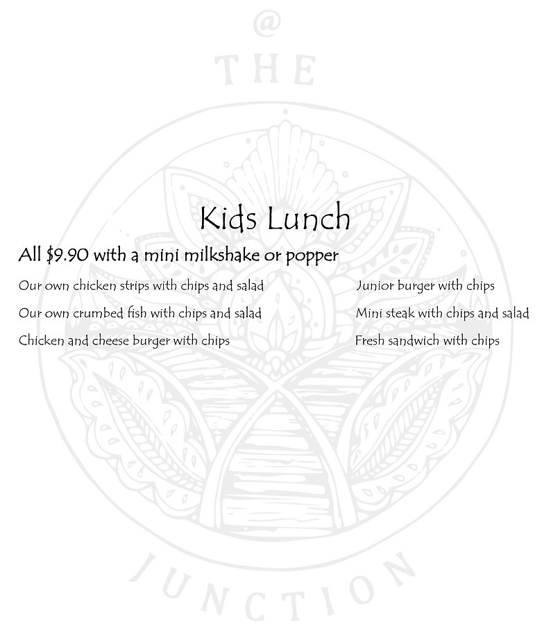 The Junction's Kid Lunch Menu