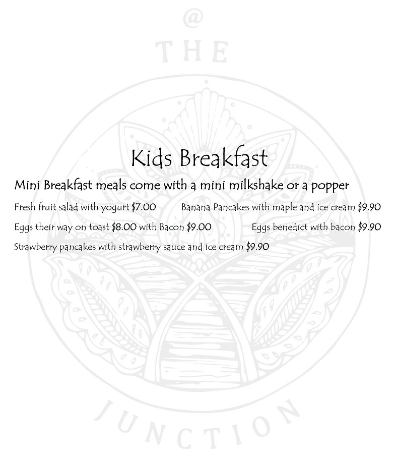 The Junction Cafe Kids Breakfast Menu