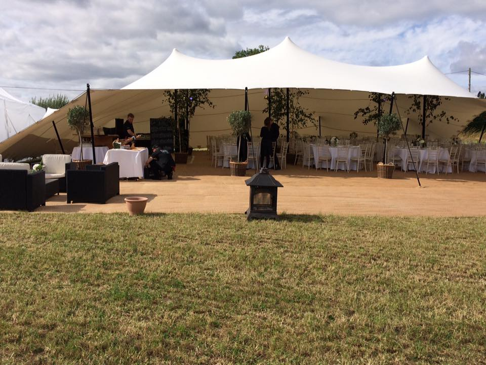 Stretch Tent Wedding Marquee Set up