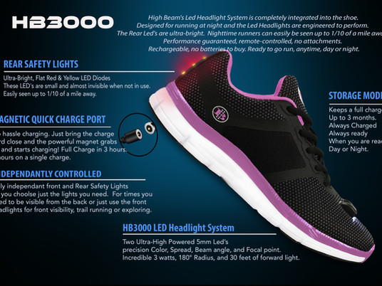 Women's Night Runner Shoes-Safety Light System-1