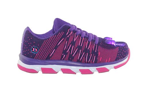 Wave Knit LED Shoes  Girls (Purple)
