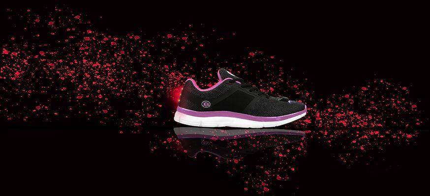 Womans Night Runner Black Pink Paint Cov