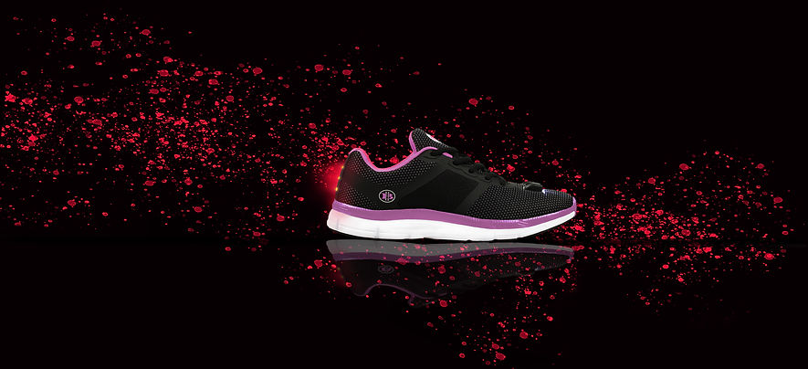 Womans Night Runner Black Pink Paint Cov