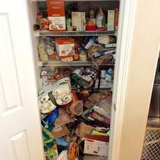 Unorganized Kitchen Pantry Before Redesign