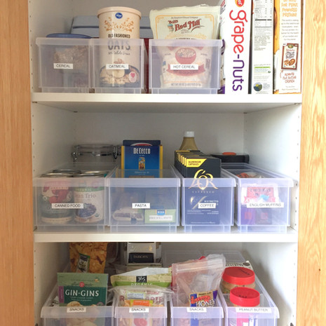 Deep Pantry After Organizing and New Containers
