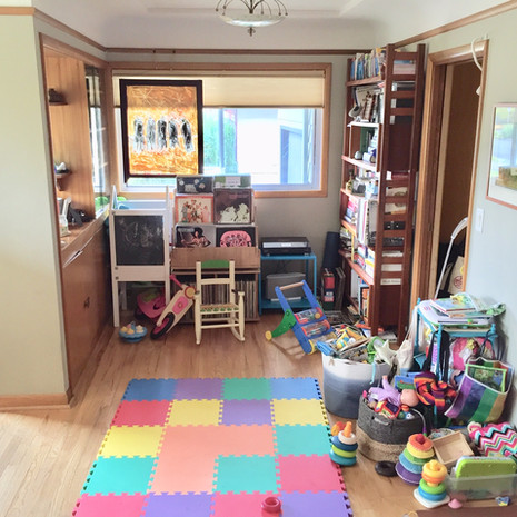 Unorganized Living Room / Playroom Before Redesign
