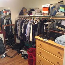 Unorganized Master Closet Before Redesign