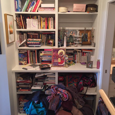 Unorganized Book Storage Before Decluttering
