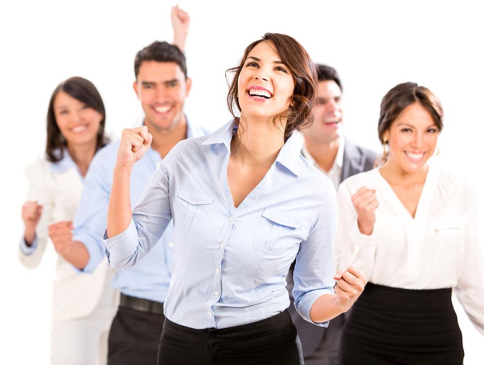 Successful business team celebrating wit