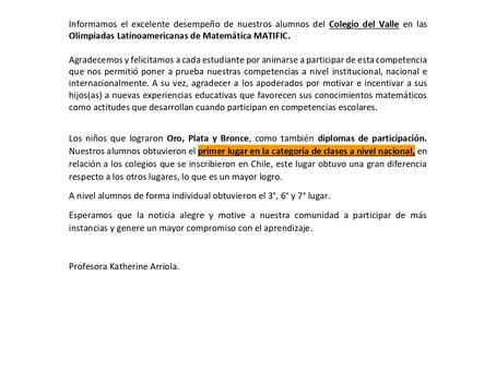Olimpiadas Latinoamericanas de Matemática MATIFIC.