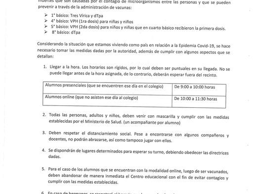 CIRCULAR CALENDARIO DE VACUNACIÓN ESCOLAR AGOSTO 2021.