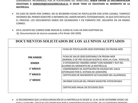 Protocolo Matricula Admision SAE 2020
