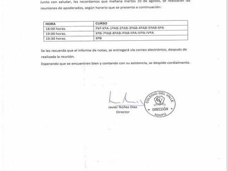 REUNIÓN DE APODERADOS AGOSTO