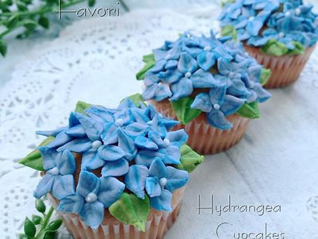 季節限定 アジサイのカップケーキ