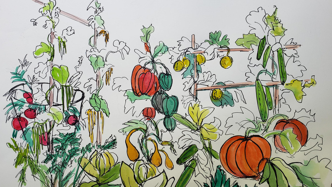 """Kay Duffy """"ESCAPE TO MY GARDEN"""" Watercolor/ink 21x27 $450"""