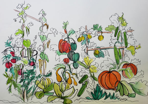 "Kay Duffy ""ESCAPE TO MY GARDEN"" Watercolor/ink 21x27 $450"