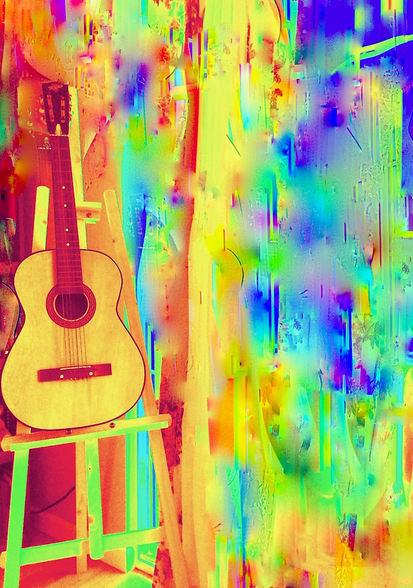 "Karen Franzenburg ""COLORFUL GUITAR"" Photography on Acrylic 16x20 NFS"