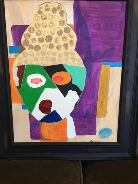 """Dorothy Atkins """"MASK"""" Acrylic 21x25 $425"""