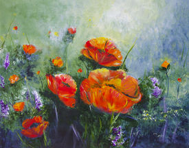 """Marcia Sivek """"POPPIES AND LUPINE"""" Acrylic 20x16 $300"""