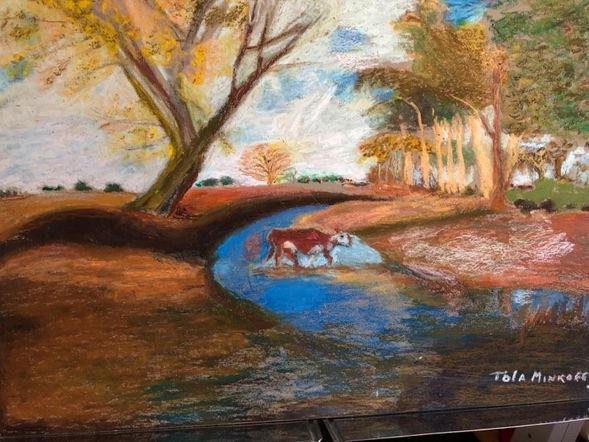 "Tola Minkoff ""CROSSING THE STREAM"" Oil pastel 12x16 NFS"