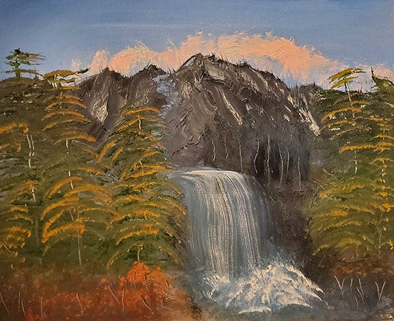 "Gail Lockhart ""MOUNTAIN WATERFALL"" Oil 11x14 NFS"