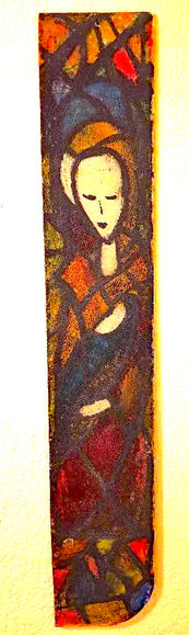 "Louise Webb ""Madonna and Child"" Stained glass 30x5 NFS"