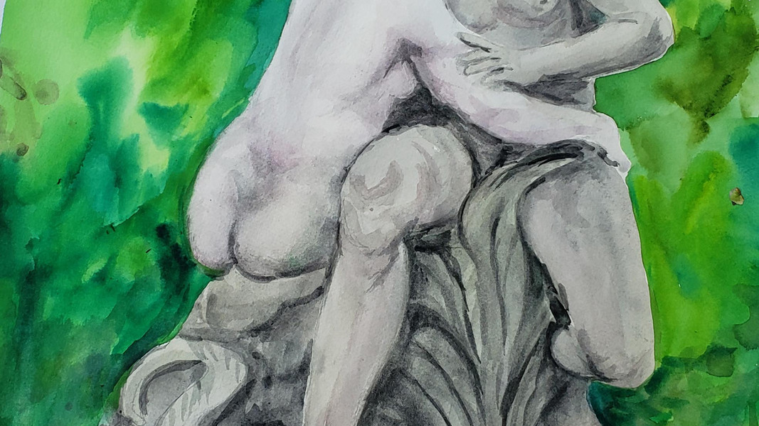 """Kay Duffy """"ADAM AND EVE"""" Watercolor 14x20 $300"""