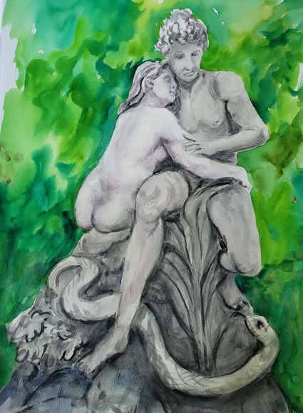 "Kay Duffy ""ADAM AND EVE"" Watercolor 14x20 $300"