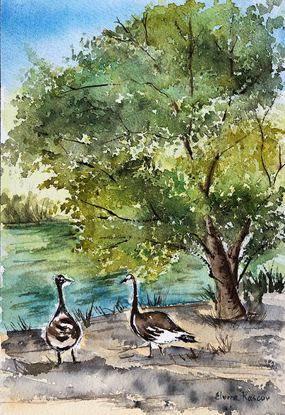 "Elvira Rascov ""GEESE IN THE PARK"" Watercolor 7x10 NFS"