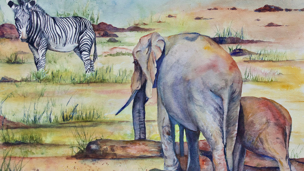 "Marcia Sivek ""WATER HOLE"" 20x14 watercolor $200"