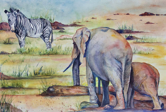 "Marcia Sivek ""WATER HOLE"" 20x14 watercolor $200"