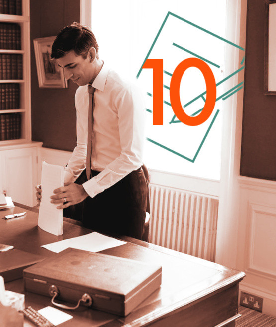 An image of Rishi Sunak in his office arranging papers next to his briefcase. There is a graphic design of a drawing of a paper and pen with the number 10 on it.