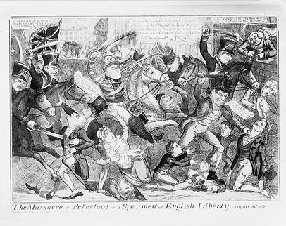 A painting depicting The Massacre of Peterloo. Soldiers on horses are charging through the streets attacking men and women with clubs and swords.