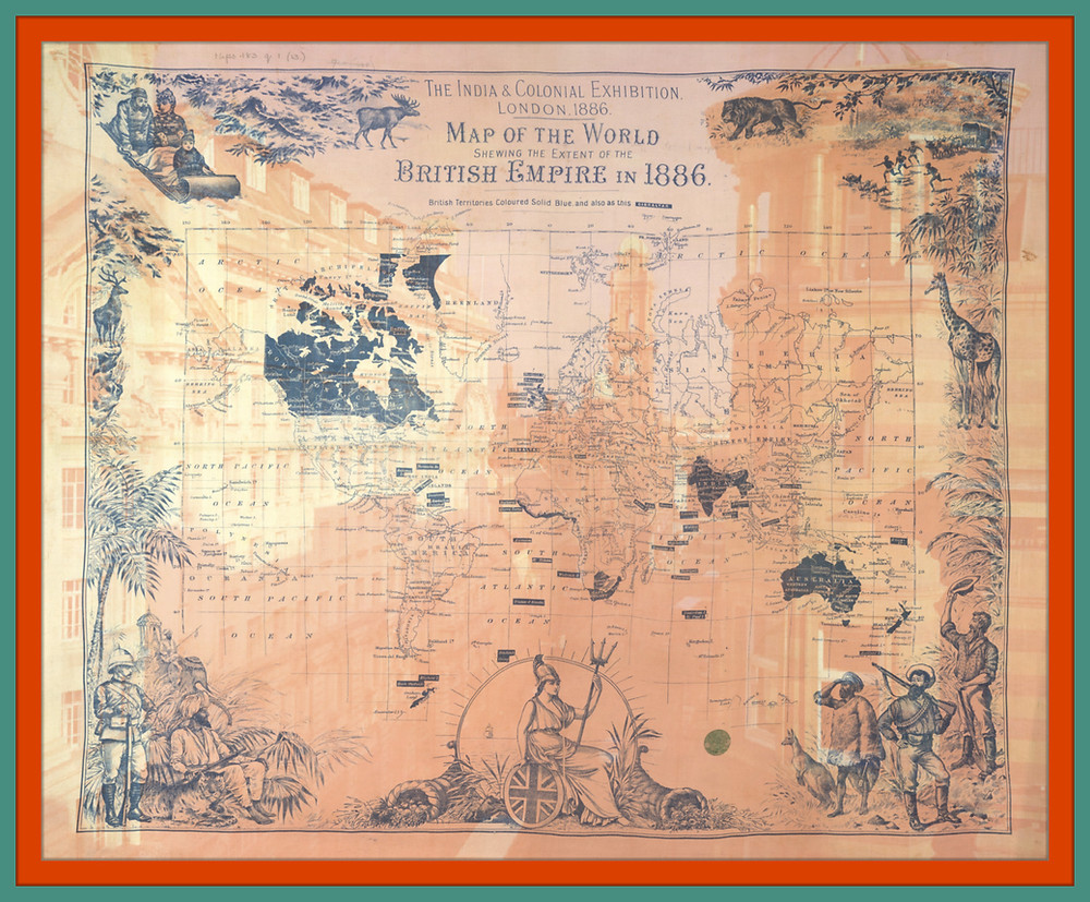 An old map of the world which shows the British Empire in 1886 superimposed onto an image of Manchester with an orange and green border around it